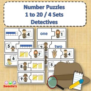 Number Puzzles 1 to 20 -  Detective Theme - 2 Pieces Per Puzzle
