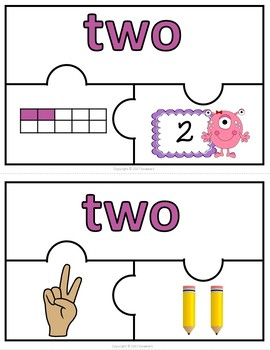 Number Puzzles 1 - 20 - Monster Theme - 3 Puzzle Pieces