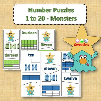 Number Puzzles 1 to 20 - Monster Theme