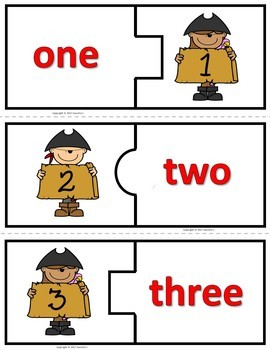 Number Puzzles 1 to 20 - Pirate Theme - 2 Pieces Per Puzzle