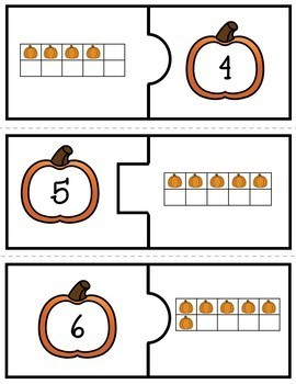 Number Puzzles 1 to 20 - Pumpkin Theme - 2 Pieces Per Puzzle