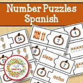 Number Puzzles 1 to 20 - Pumpkin Theme - 2 Pieces Per Puzz