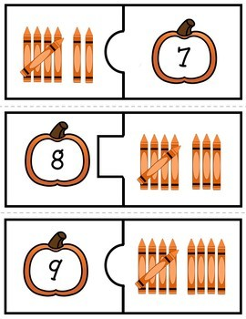 Number Puzzles 1 to 20 - Pumpkin Theme - 2 Pieces Per Puzzle - Spanish