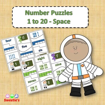 Number Puzzles 1 to 20 - Space Theme - 4 Pieces Per Puzzle