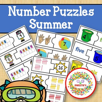 Number Puzzles 1 to 20 - Summer Theme - 2 Pieces Per Puzzle