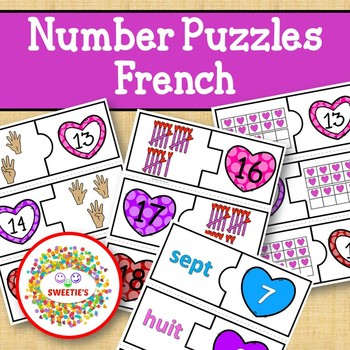 Number Puzzles 1 to 20 - Valentine Theme - French - 2 Pieces Per Puzzle