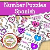 Number Puzzles 1 to 20 - Valentine Theme - Spanish - 2 Pieces Per Puzzle