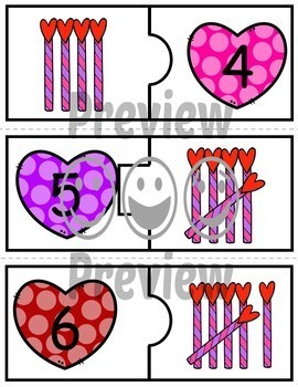 Number Puzzles 1 to 20 - Valentine Theme - Spanish - 2 Pieces Per Puzzle