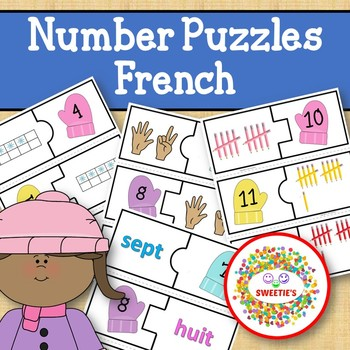 Number Puzzles 1 to 20 - Winter Theme - 2 Pieces Per Puzzle-French-Les Nombres