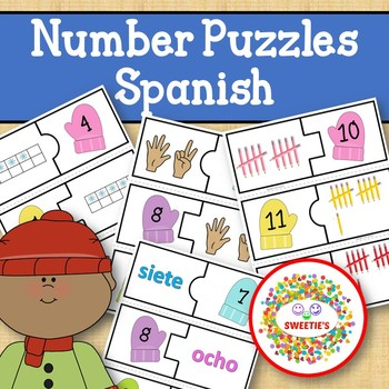 Number Puzzles 1 to 20 - Winter Theme - 2 Pieces Per Puzzle - Spanish