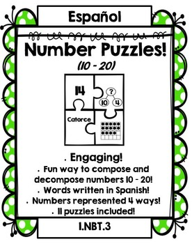 Number Puzzles: Compose and Decompose numbers 10 – 20 (SPANISH Version!)