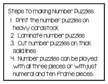 0-10 Number Puzzles for Number Representations