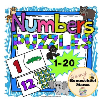 Number Puzzles - 2 Piece Puzzles for Numbers 1 to 20