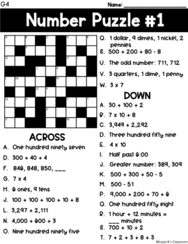 Cross Number Puzzles: Grade 4