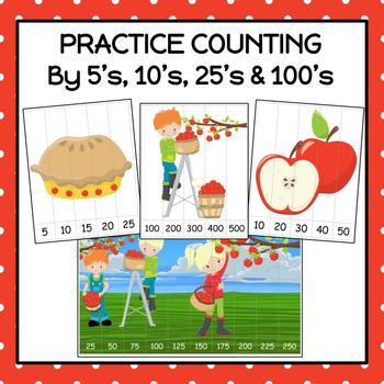 Apple Number Puzzles for Rote and Skip Counting