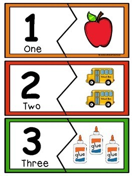 Number Puzzles 1-20, Back to School Edition