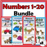 Number Puzzles 1-20 Bundle - Farm Math, Dinosaur Math, Ocean Math, Zoo Math