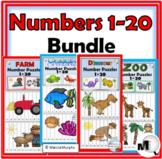 Number Puzzles 1-20 Bundle - Farm Math, Dinosaur Math, Ocean Math, Zoo Math
