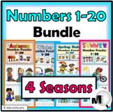 Number Puzzles 1-20 Bundle - Spring Math, Summer Math, Aut