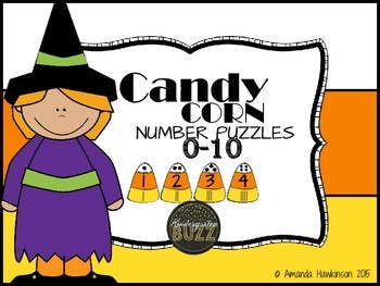 Number Puzzles Candy Corn Themed (Number Sense)