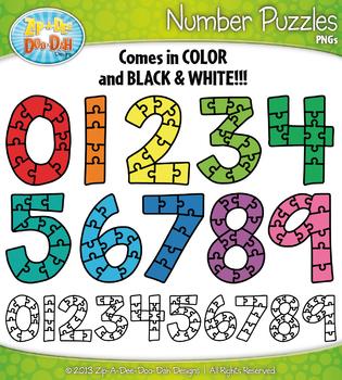 Number Puzzles Clipart {Zip-A-Dee-Doo-Dah Designs}