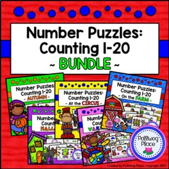Number Puzzles: Counting 1-20 {BUNDLE}