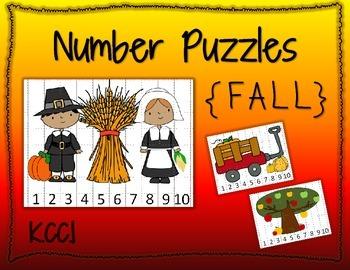Number Puzzles {Fall}; CCLS; PreK, Kindergarten