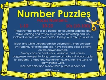 Number Puzzles (Focus Numbers:1-10, 11-20, By 10s to 100)