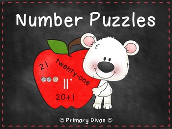 Number Puzzles - Match Coins, Base Ten, Numbers, Expressions, and Words