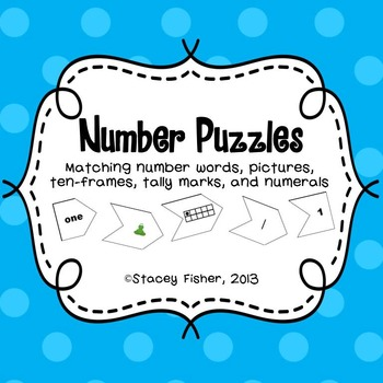 Number Puzzles-Number Words, Pictures, Ten-Frames, Tally Marks, and ...