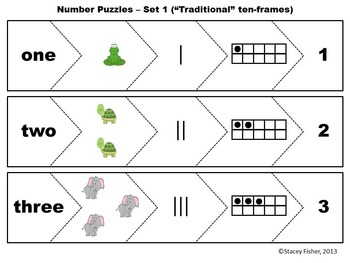 Number Puzzles-Number Words, Pictures, Ten-Frames, Tally Marks, and Numerals