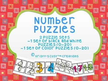 Number Puzzles for Math Centers (Numbers 0-20)