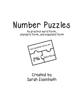 Number Puzzles: Numbers in Word Form, Standard Form, and Expanded Notation FREE