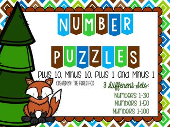Number Puzzles: Plus 10, Minus 10, Plus 1 and Minus 1