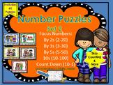 Number Puzzles (Skip Counting: By 2s, 3s, 5s, 10s, & Backwards) 60 Puzzles