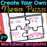 Number Puzzles TEMPLATE WORKSHEETS Second Grade - 2nd