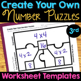 Number Puzzles TEMPLATE WORKSHEETS Third Grade - 3rd