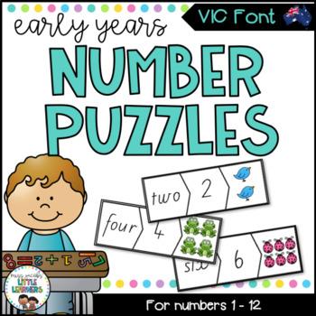 VIC Modern Cursive Font Number Puzzles