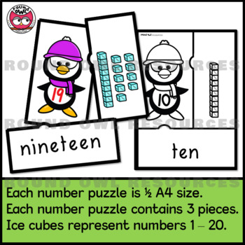 Number Puzzles and displays 1 - 20. Penguin Parade
