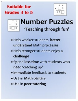 Number Puzzles for Addition, Subtraction, Multiplication