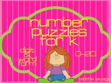 Number Puzzles for Kindergarten- 0-20 word and digit with assessments!