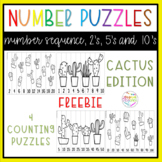 Number Puzzles for Skip Counting - Cactus theme FREEBIE