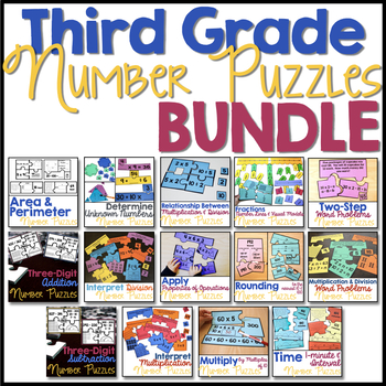 Number Puzzles for Third Grade BUNDLE