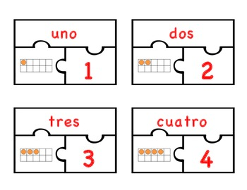 Number Puzzles in Spanish and English (1-20)