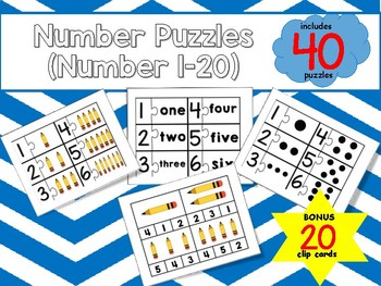 Number Puzzles with Clip Cards (Number 1-20)
