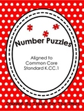 24 Kindergarten Number Puzzles with February Themes K.CC.A.1