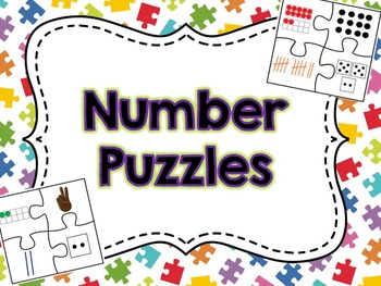 Number Puzzles with Ten Frames, Base Ten Blocks, Fingers, Tally Marks, and Dice