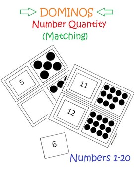 Number Quantity - Dominos  (Black & White)