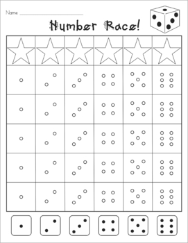 Number Race Dice Game #1-6 (Common Core K.CC.3, 4, 5, and 6)