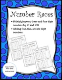 Number Races: Multiplying numbers by 10 and 100 4th Grade Math TEKS 4.4B